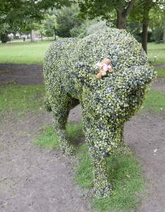 Reg on a topiary wolf