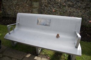Reg on the bench made out of a US aircraft wing