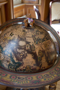 Reg on a globe of the world