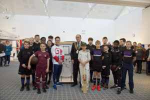 Brinn, Mayor David Harrison and the rugby team from Woodlands School, Basildon with the Sport Remembers Plaque