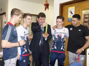 Stephen Metcalfe admiring Max's gold medal