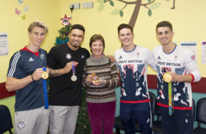 From the left: Jay Thompson, Reiss Beckford, Reg and me, Brinn Bevan, Max Whitlock