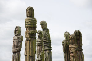 Sculpture of Wat Tyler and other peasants in Wat Tyler Country Park, Pitsea, Essex