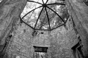 Looking through the dome of Vange Well No. 5 B&W