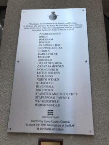 Plaque commemorating the bravery and courage of all those who served in the Royal Air Force from Essex airfields .