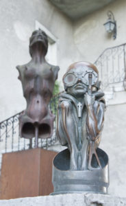 Exhibits outside the HR Giger Museum