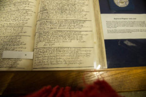 Baptismal register with entry of William Penn