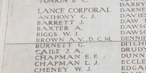 Lance Corporal George Burnett's name on the Menin Gate, Ypres, Belgium