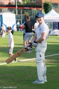Brinn Bevan practising cricket
