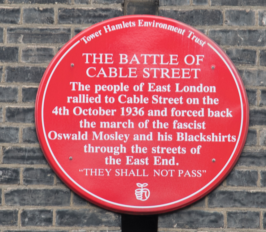 Battle of Cable Street Plaque